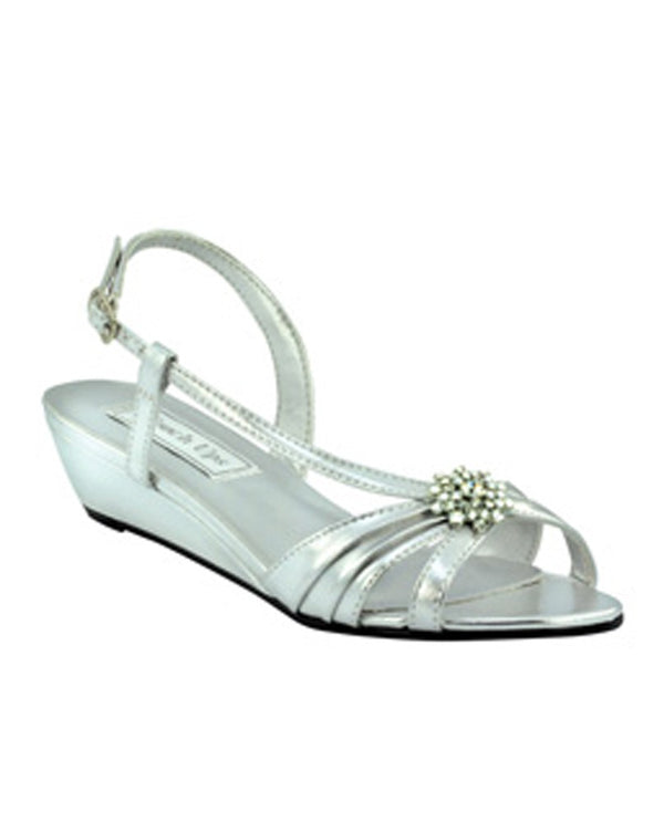 Touch Ups Geri silver metallic small wedge sandals with rhinestone details