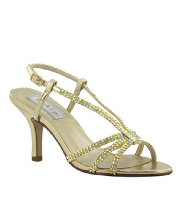 Touch Ups Lyric Heel sparkling gold T-strap sandals with heels