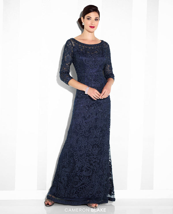 Cameron Blake 115604SL Ribbon On Tulle Dress navy blue mother of the bride dress with 3/4 sleeves