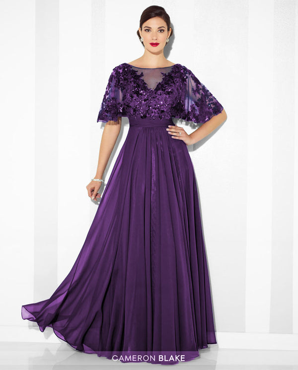 Cameron Blake 117622W Womens Sequin Illusion Dress plum purple plus size mother of the bride gown