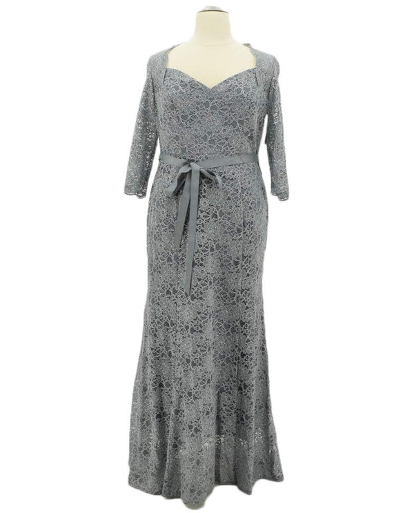 Slate grey Alex Evenings 4121700 Womens Lace Bolero Dress plus size mother of the bride dress