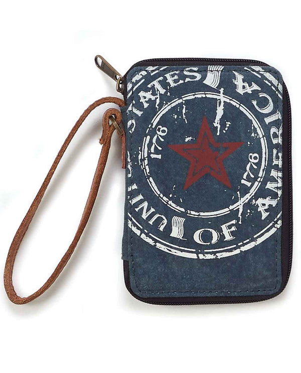 Mona B M-5204 United Wallet blue upcycled canvas wristlet wallet with Americana print