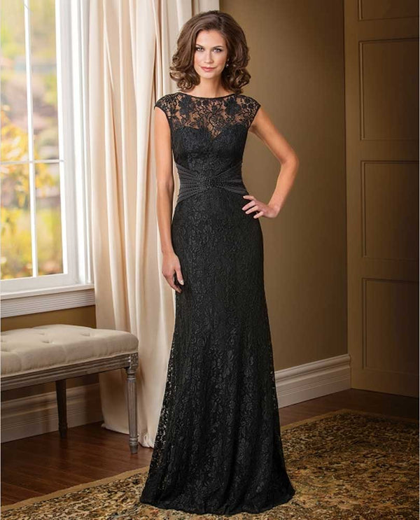 Jade Couture K178010 Lace Cap Sleeves Black mother of the bride gown with lace jeweled neckline