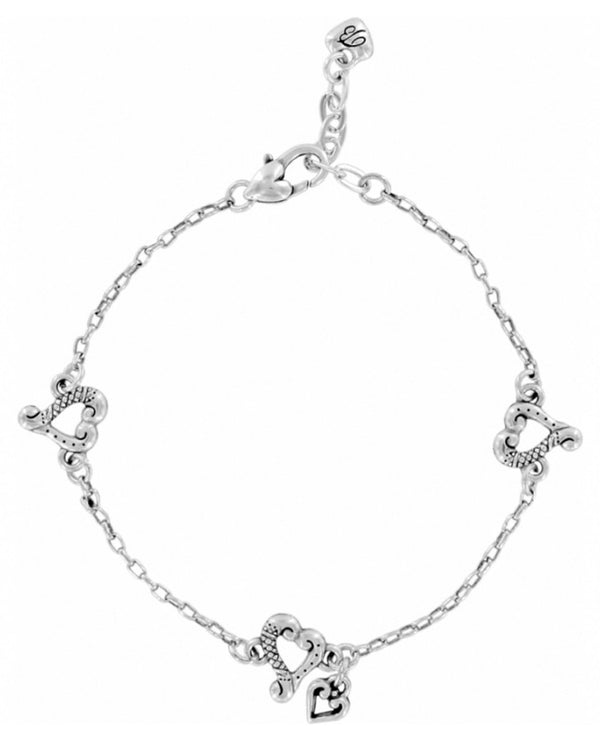 Brighton J90550 Tuscan Heart Anklet delicate silver anklet with small hearts