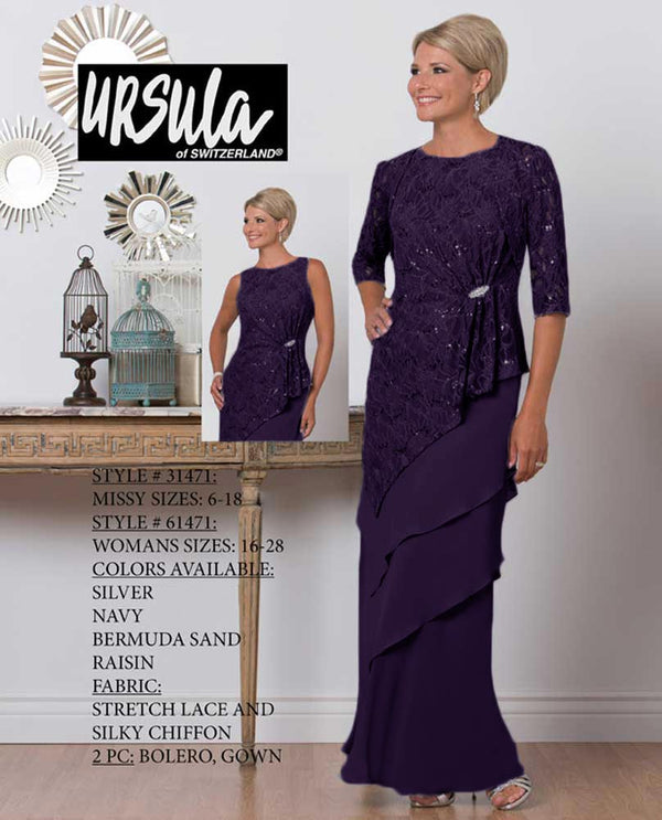 Ursula 61471 Womens Chiffon Tiered Set raisin dark purple mother of the bride dress