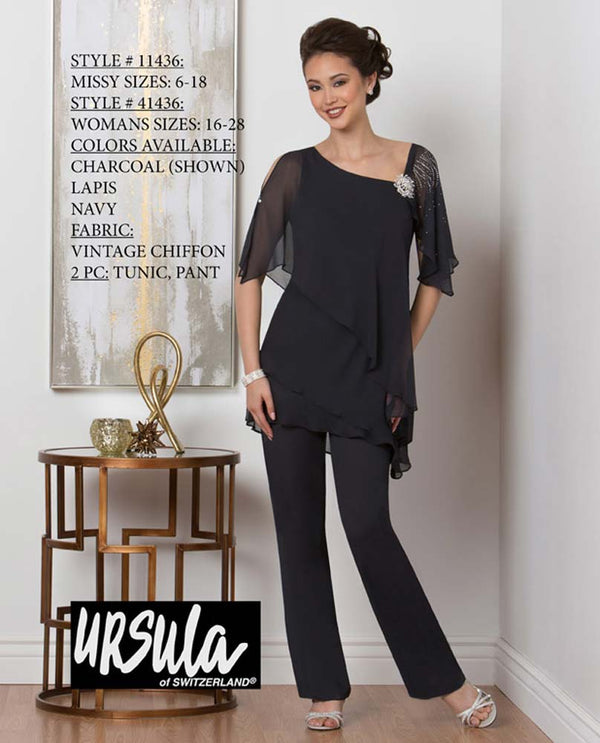 Ursula 11436 Tiered Tunic Pant Set charcoal grey mother of the bride pant suit set