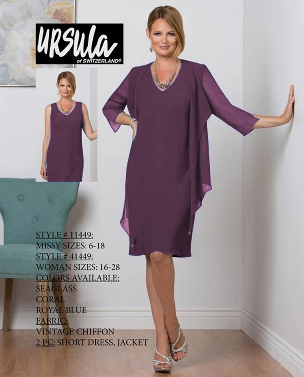 Ursula 41449 Womens 2 Piece Chiffon Dress raisin purple short plus size mother of the bride dress