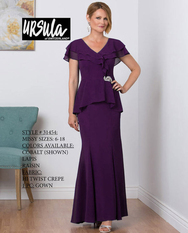 Ursula 31454 Hi Twist Crepe Gown raisin purple mother of the bride gown with peplum overlay