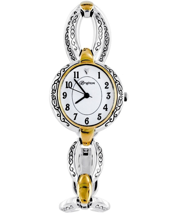 Silver-gold Brighton W30281 Alta Watch with mixed metal links and feminine swirled design