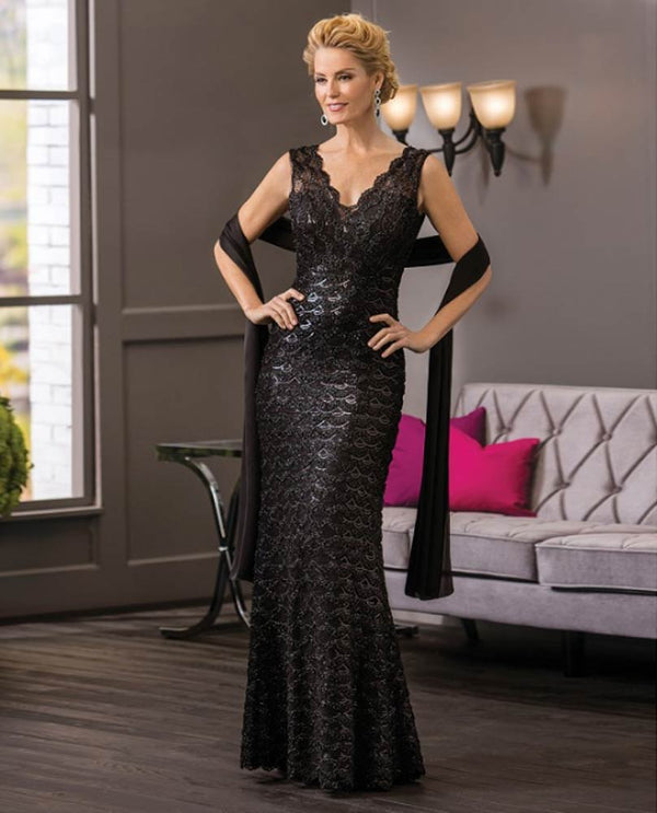 Black Jade Couture K188061 Sequin Mesh Lace Dress
