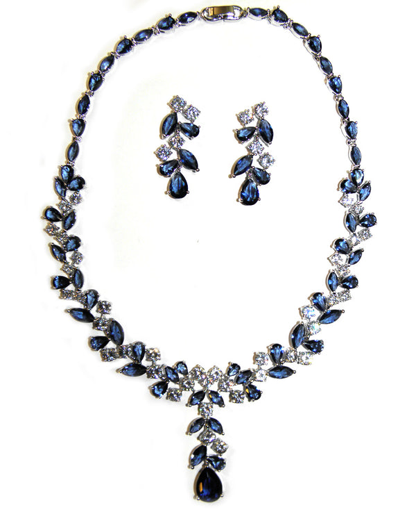 Navy Cubic Zirconia Vine Necklace Set