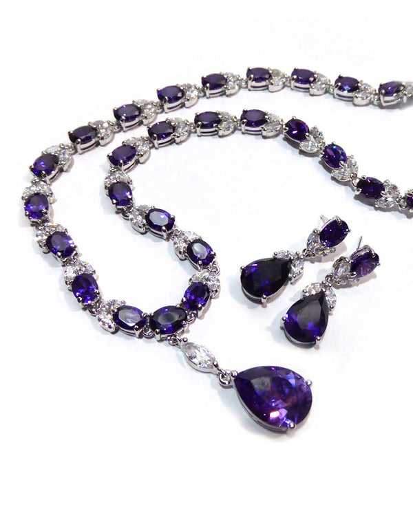 Cubic Zirconia Tear Drop Necklace Set