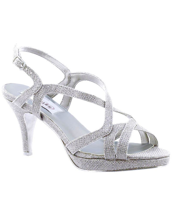Chloe Heel metallic silver strappy sandals with 3.5 inch heel for special occasions