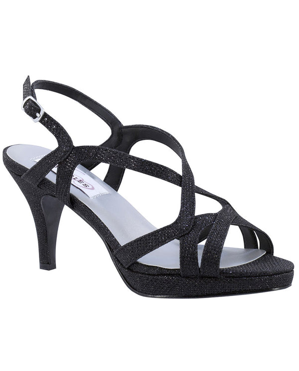 Black Chloe Heels strappy heel sandals for women with 3.5 inch heel and buckle closure