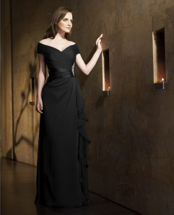 Black Jade Jasmine J1161 Ruched Dress With Rhinestones mother of the bride gown