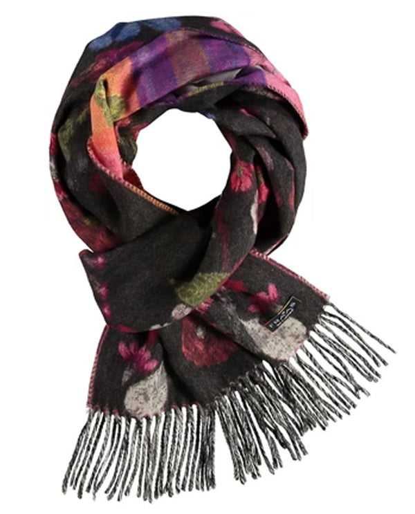 FRAAS 625266 Pressed Floral Scarf Charcoal