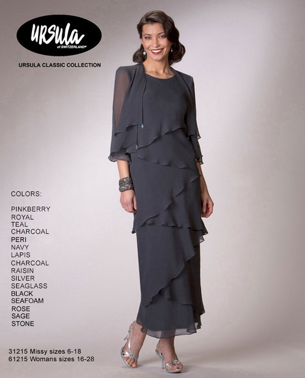 Ursula 61215 Tiered Dress With Jacket charcoal grey mother of the bride dress with jacket