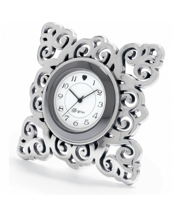 Silver Brighton G20100 Geneva Clock with snowflake design