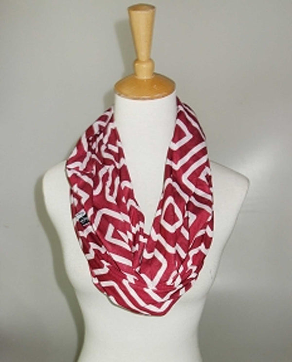 65388-CF Pocket Scarf Maroon and White