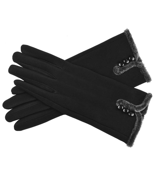 66100-F 3 Button Gloves Black