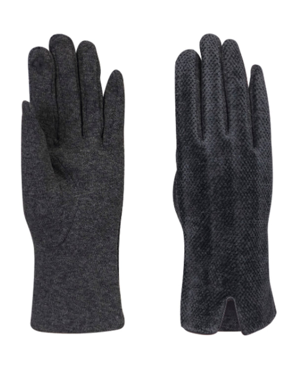 Quilted Chenille Gloves Charcoal