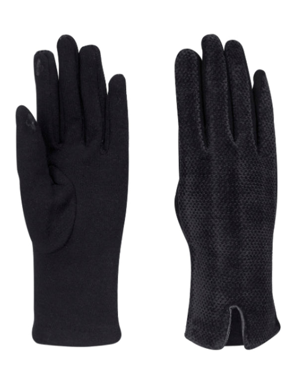 Quilted Chenille Gloves Black