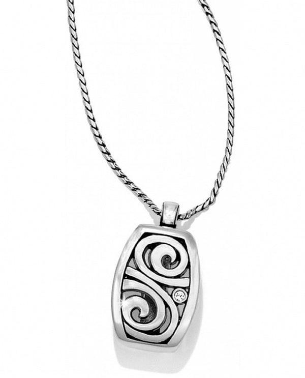 Silver Brighton JN3052 London Groove Badge Clip Necklace is an ID holder and stylish jewelry