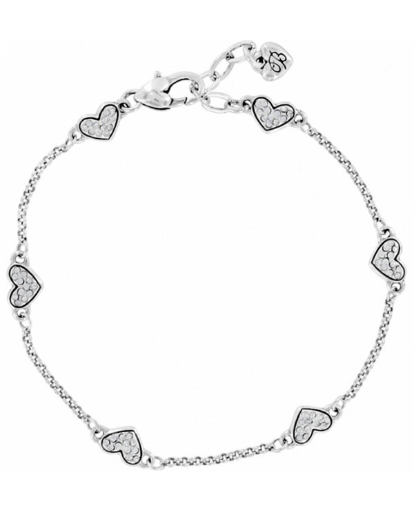 Brighton J70712 Kiss & Tell Anklet delicate silver anklet with tiny Swarovski crystal hearts