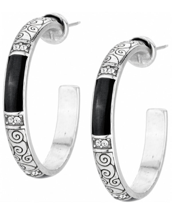 Brighton JE1673 Wiltern Post Hoop Earrings silver hoop earrings with swirled design