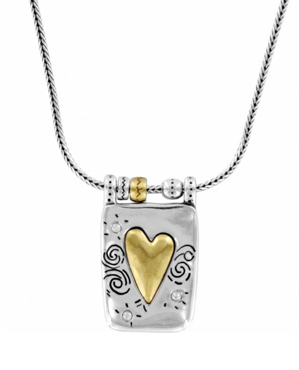 Silver gold Brighton J48522 Remember Your Heart Necklace with gold heart with swirls