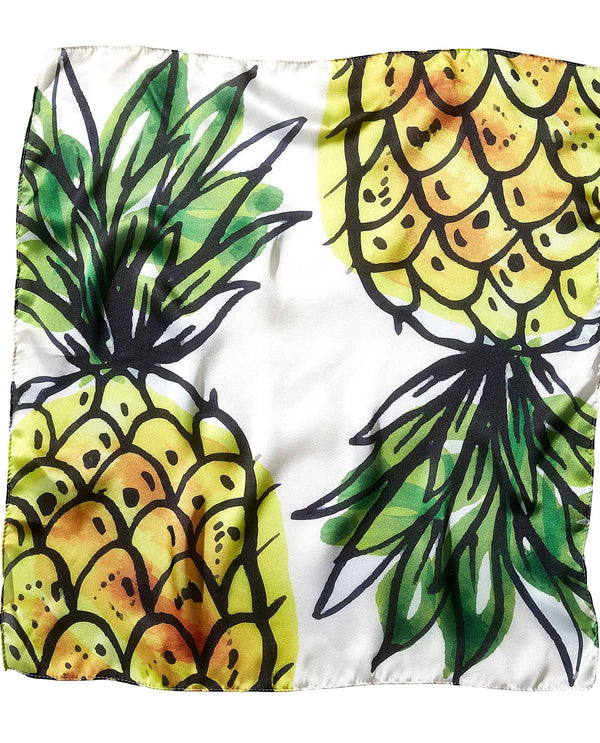 Tickled Pink 810676 Pineapple Lola Square Scarf lightweight pineapple print scarf
