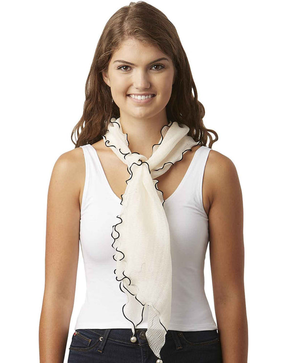 Tickled Pink 810696 Penny Ruffle Scarf sheer lightweight cream scarf with black trim