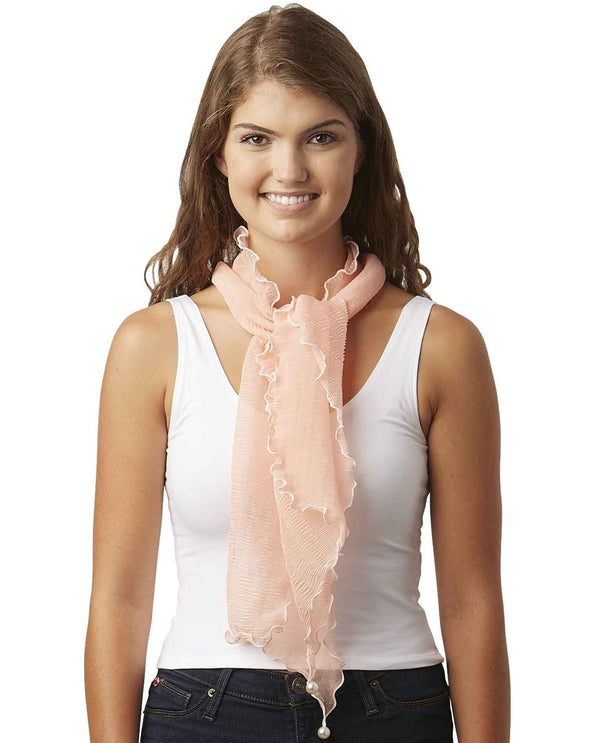 Tickled Pink 810698 Penny Ruffle Scarf coral pink lightweight scarf with ruffles