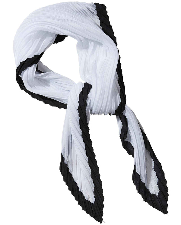 Black white Tickled Pink 810699 Crinkle Diamond Scarf white neck scarf with black trim