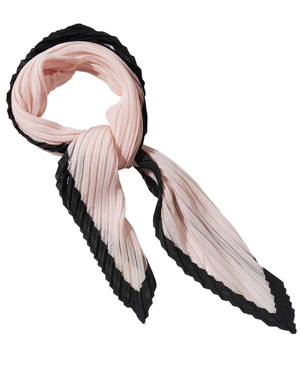 PKBK Tickled Pink 810700 Crinkle Diamond Scarf pink lightweight scarf with black trim