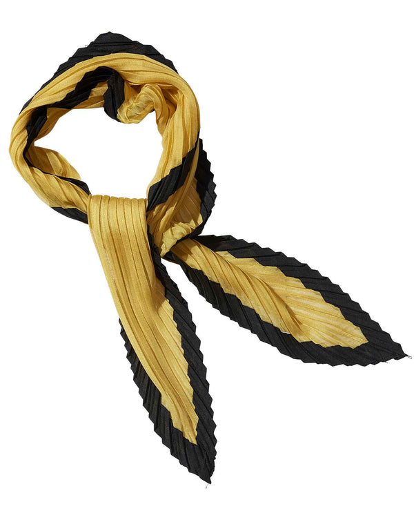 Gold Black Tickled Pink 810701 Crinkle Diamond Scarf Yellow Neck Scarf with Black Trim