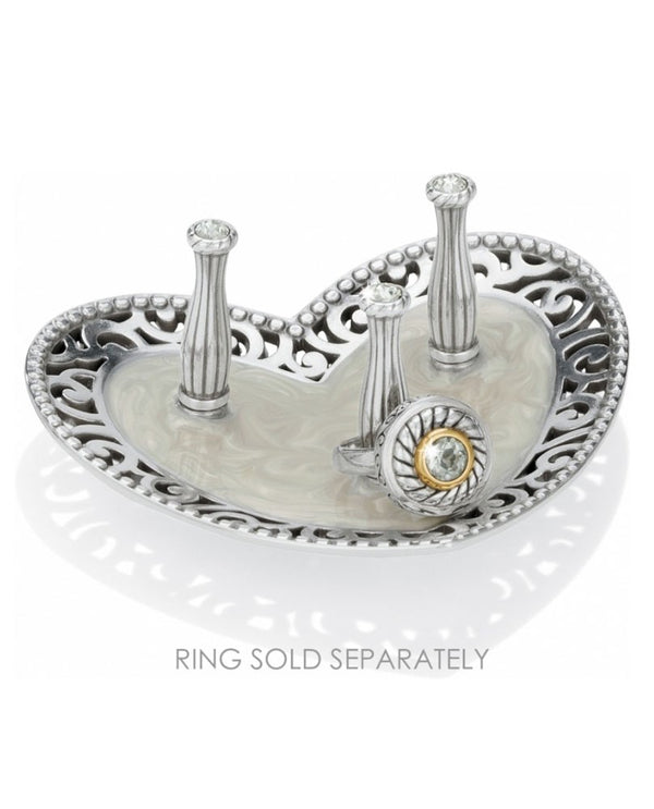 Silver Brighton G81140 Lacie Daisy 3 Ring Holder heart shaped with scrolled design