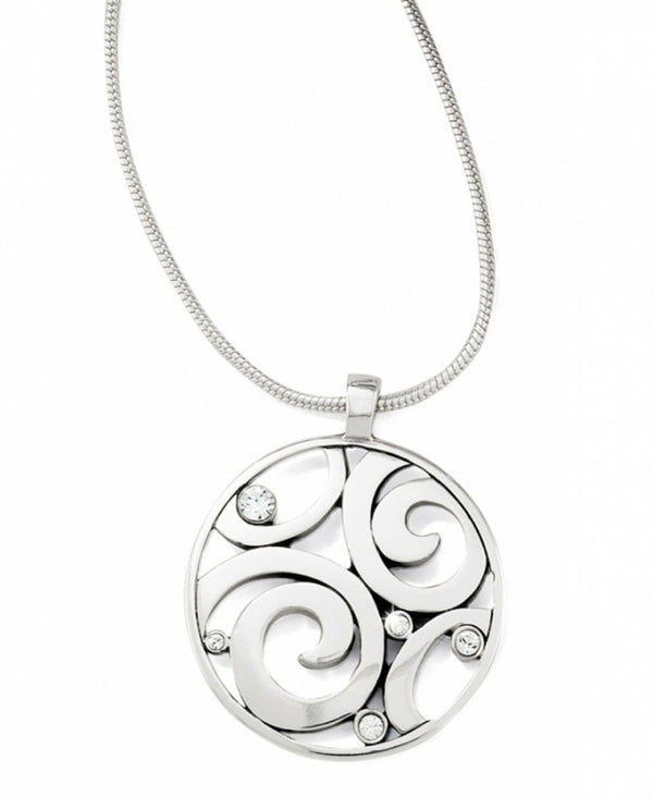 Silver Brighton JN1492 London Groove Necklace with Swarovski swirled round design