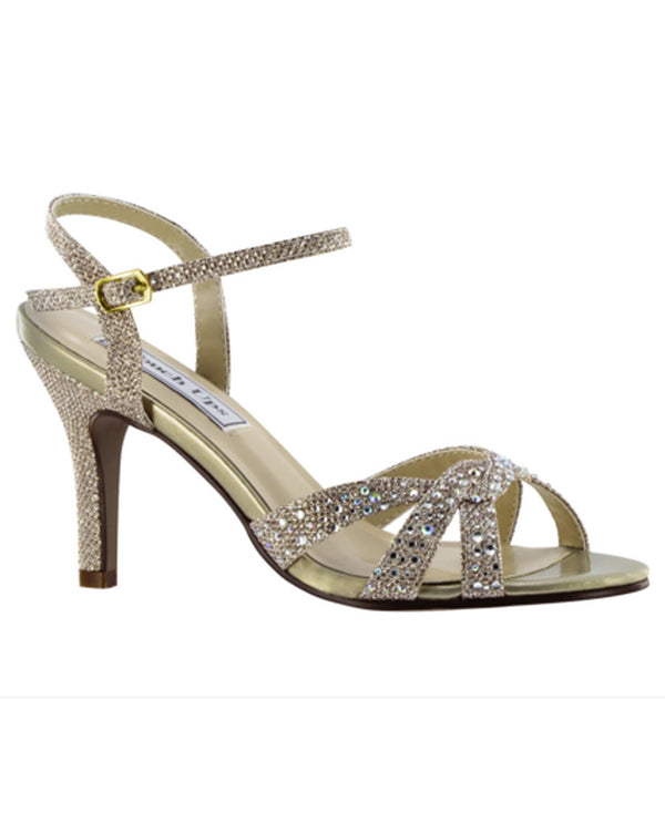 Touch Ups by Benjamin Walk 4185mo Dulce Shimmer Champagne glitter open toe strappy sandals