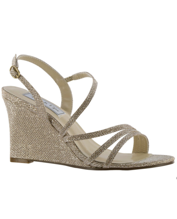 Touch Ups by Benjamin Walk 4177mo Paige Shimmer Champagne sparkling wedge sandals