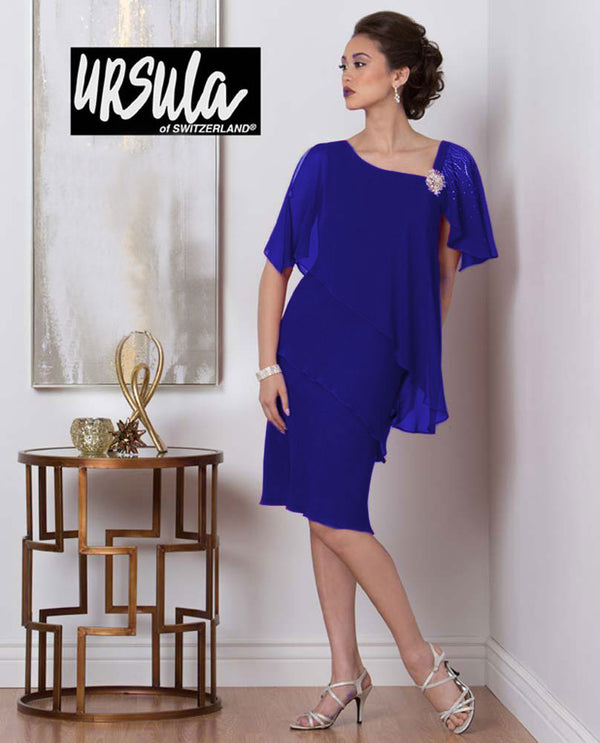Ursula 43191 Womens Tiered Beaded Shoulder royal blue plus size short mother of the bride dress