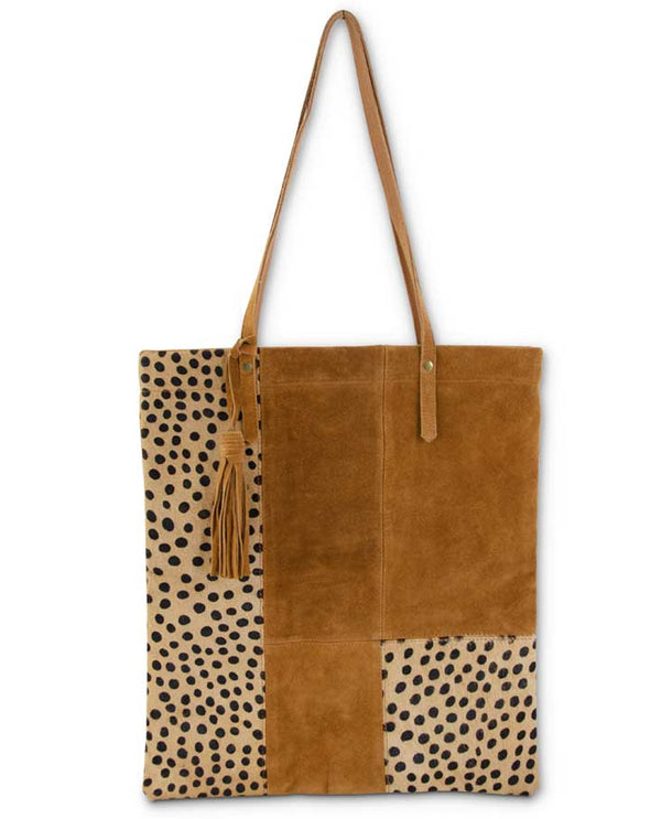 Leopard Patch Suede Tote
