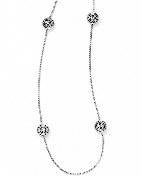 Silver layering Brighton JL5980 Ferrara Petite Long Necklace with stations of 3D medallions