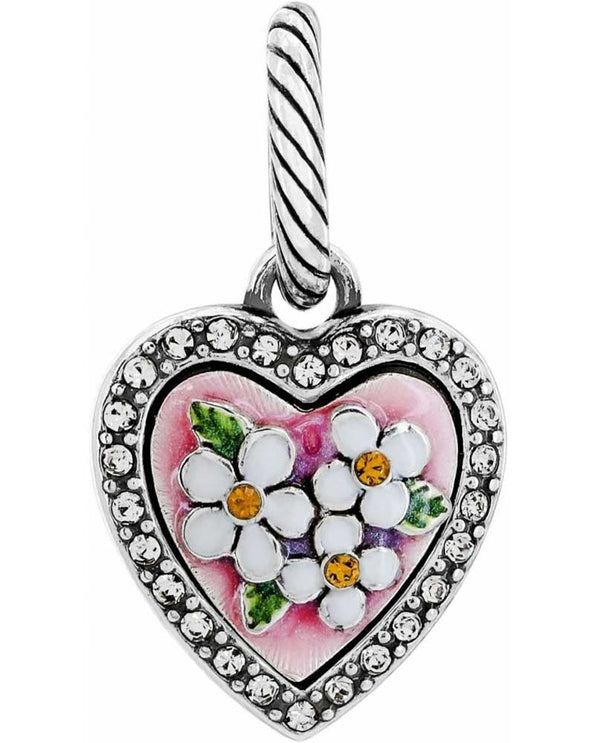 Brighton JC2013 Blooming Heart Charm Swarovski heart-shaped charm with daisies