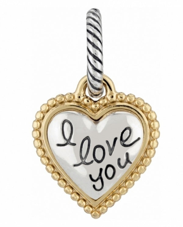 Brighton J93661 I Love You Charm silver heart shaped charm with gold border