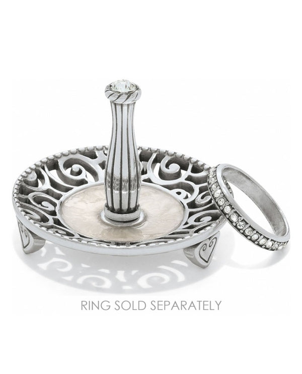 Silver Brighton G80822 Lacie Daisy Ring Holder round with scrolled design and Swarovski crystal