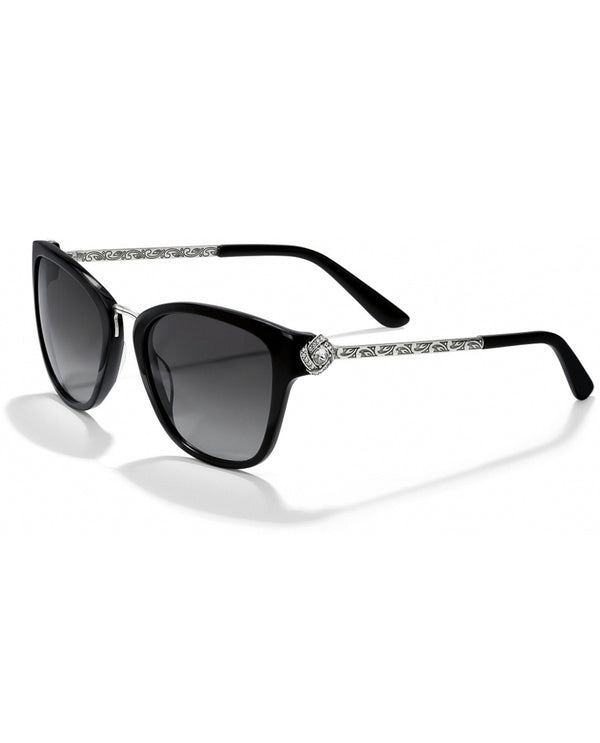 Black Brighton A12633 Eternity Knot Sunglasses with trendy cat eye shape and UV protection