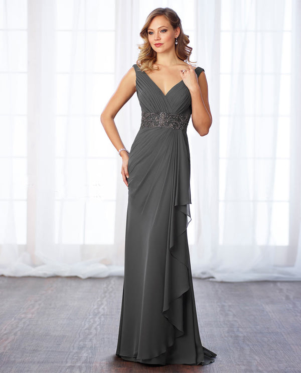 Cameron Blake 217641 Bead Waist Chiffon Dress smoke gray mother of the bride gown with v-neckline