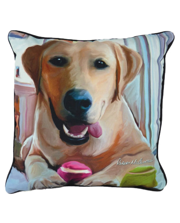 Manual Woodworkers & Weavers SLTAYL Yellow Lab Pillow