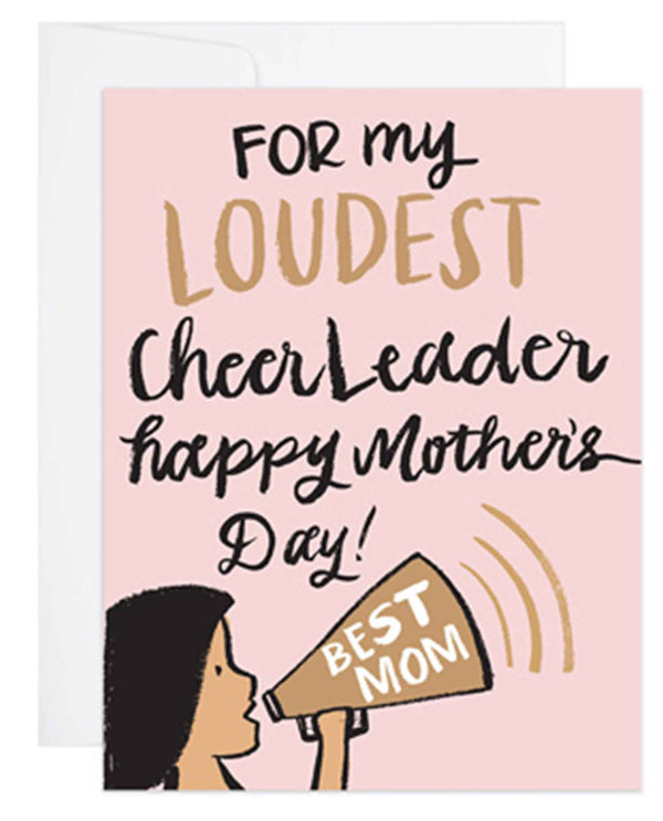 9th Letter Press HD607 Cheerleader Mom Card blank Mother's Day card